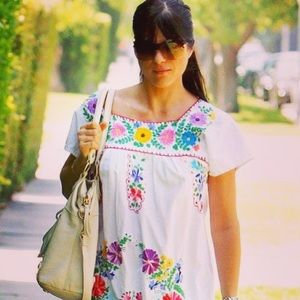 Embroidered Mexican Dress Floral Bohemian Tunic